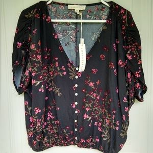 NWT Love Stitch black floral blouse